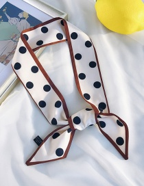 Fashion Beveled Border Large Dot Beige Polka Dot Satin Scarf