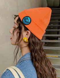 Fashion Smiley Orange Knitted Wool Sequin Cap