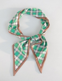 Fashion British Green Plaid Printed Silk Scarf