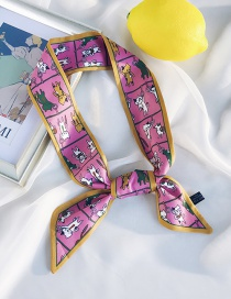 Fashion Angled Cat Pink Cat Print Small Scarf
