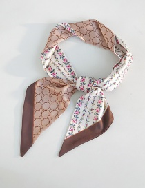 Fashion Flower Vine Beige Angled Wide Scarf