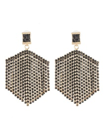 Fashion Black Fringed Diamond Stud Earrings