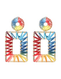 Fashion Rectangle Hollow Alloy Lafite Woven Earrings