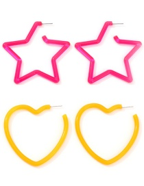 Fashion Rose Red + Yellow Acrylic Star Love Stud Earrings