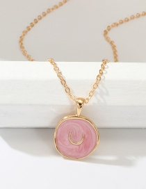 Fashion Pink Alloy Drop Oil Star Moon Necklace