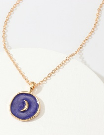 Fashion Dark Blue Alloy Drop Oil Star Moon Necklace