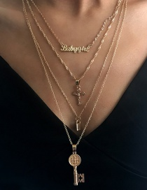 Fashion Gold Metal Key Cross Letter Multi-layer Necklace