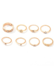 Fashion Gold Alloy Star-studded Diamond Ring Set Of 8