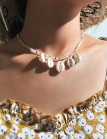 Fashion White Mizhu Tandem Natural Shell Necklace