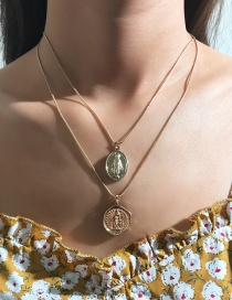 Fashion Gold Metal Avatar Necklace Double Layer