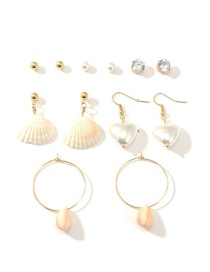 Fashion Gold Mermaid Starfish Shell Stud Earrings Set