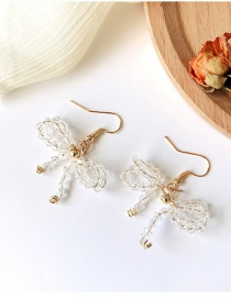 Fashion Metal Braided Crystal Bow Earrings