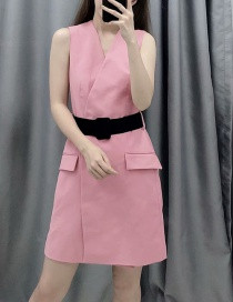 Fashion Pink Belted Suit Dress