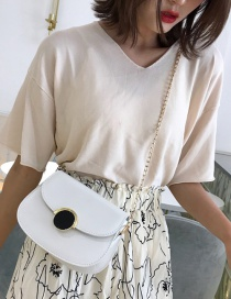 Fashion White Contrast Chain Chain Shoulder Messenger Bag