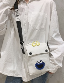 Fashion White Cartoon Embroidered Canvas Shoulder Crossbody Bag
