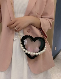 Fashion Black Woven Heart Shaped Transparent Pearl Handbag Shoulder Crossbody Bag