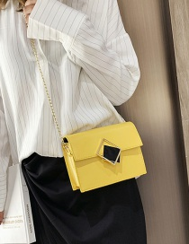 Fashion Yellow Hollow Square Buckle Chain Shoulder Messenger Bag