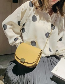 Fashion Yellow Chain Buckle One Shoulder Messenger Bag