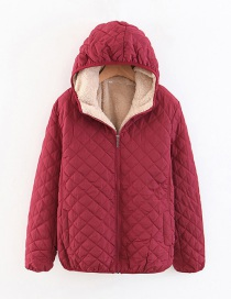 Fashion Red Wine Checked Lamb Hooded Hooded Padded Coat