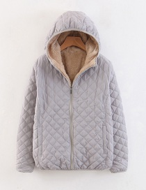 Fashion Light Grey Checked Lamb Hooded Hooded Padded Coat