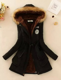 Fashion Black Thickened Hooded Long Fur Collar Lamb Fluffy Drawstring Cotton Coat