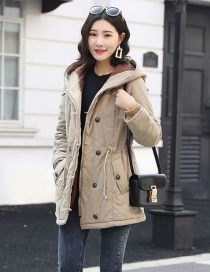 Fashion Khaki Hooded Lambskin Drawstring Long Coat