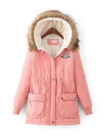 Fashion Pink Thick Hooded Long Section Lambskin Drawstring Fur Collar Coat