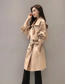 Fashion Khaki Long Lapel Waistband