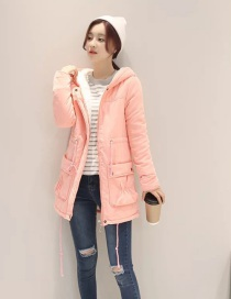 Fashion Pink Lamb Hooded Drawstring Long Coat