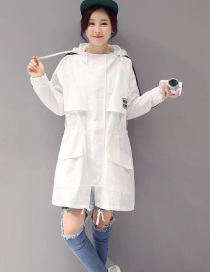 Fashion White Mid-length Hooded Striped Trench Coat