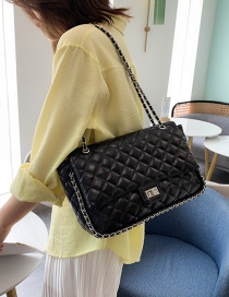 Fashion Black Chain Rhombic Shoulder Messenger Bag