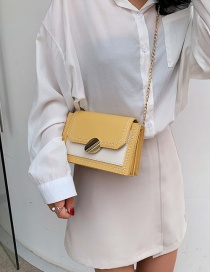 Fashion Yellow Chain Contrast Color Shoulder Messenger Bag