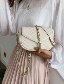 Fashion White Fringed Rhombic Chain Shoulder Messenger Bag