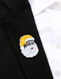 Fashion Yellow Alloy Dripping Santa Brooch