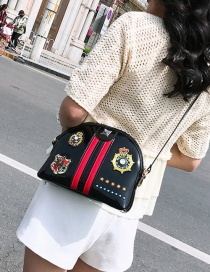 Fashion Black Shell Badge Embroidered Shoulder Messenger Bag