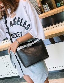 Fashion Black Contrast Letter Single Shoulder Messenger Bag
