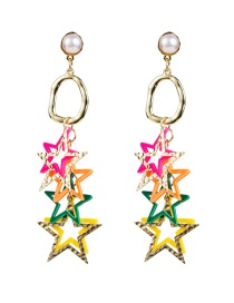 Fashion Color S925 Silver Pin Multilayer Alloy Resin Pentagram Earrings