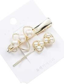Fashion White Alloy Set With Pearl Bow Hair Clips