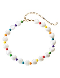 Fashion Color Love Heart Shaped Natural Stone Wood Beaded Necklace