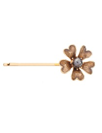 Fashion Taupe Flower Pearl Hair Clip