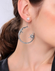 Fashion Star Moon Earrings S925 Silver Needle Star Moon Asymmetrical Earrings