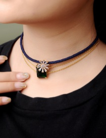 Fashion Multi-layer Necklace Gemstone Multi-layer Leather Rope Necklace