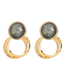 Fashion Round Gold S925 Sterling Silver Double Earrings
