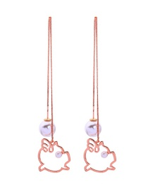 Fashion Pink Gold Pearl Hollow Pig Earrings
