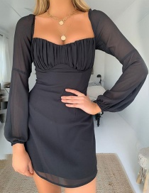 Fashion Black One-shoulder Collar Back Pleated Dress