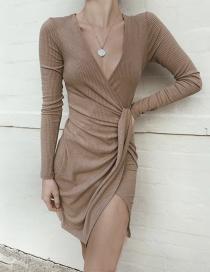 Fashion Coffee Asymmetrical Hem Deep V-neck Dress