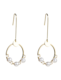 Fashion Gold Pearl Diamond Inlaid Geometric Earrings