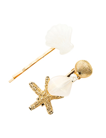 Fashion Creamy-white Alloy Resin Starfish Shell Hairpin Two-piece