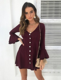 Fashion Wine Red Ruffled Sleeve V-neck Button Dress