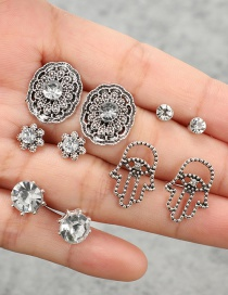 Fashion  Geometric Flower Palm-studded Earrings Set Of Five